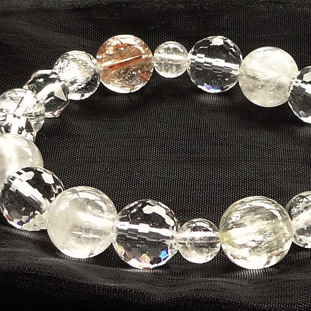 トリフェーンxオレンジ色のルチルクォーツxヒマラヤ水晶(ガネーシュヒマール産)xプレミアムカット水晶Mix|ブレスレット(パワーストーンその2)